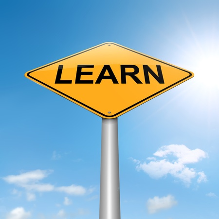 acquire: Illustration depicting a roadsign with a learn concept. Sky background.