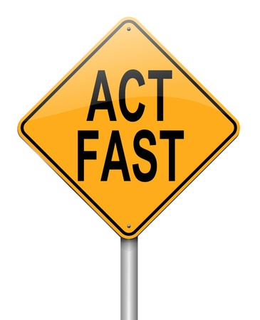 time critical: Illustration depicting a roadsign with an act fast concept. White background. Stock Photo