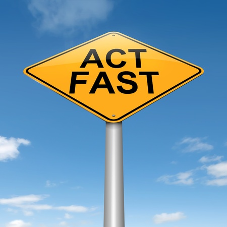 crucial: Illustration depicting a roadsign with an act fast concept. Sky background.