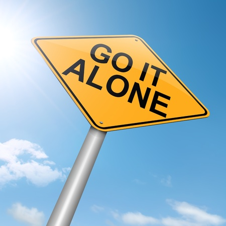 lonesome: Illustration depicting a roadsign with a go it alone concept. Sunset background. Stock Photo