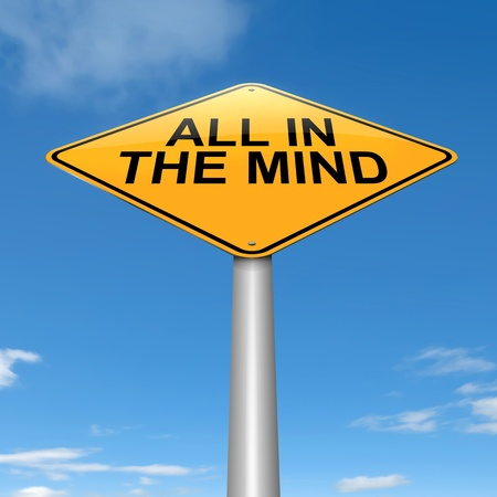 perceptive: Illustration depicting a roadsign with an all in the mind concept. Sky background.