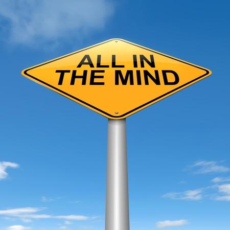 perceptive: Illustrazione raffigurante un cartello stradale con un tutto in mente il concetto. Sky background. Archivio Fotografico