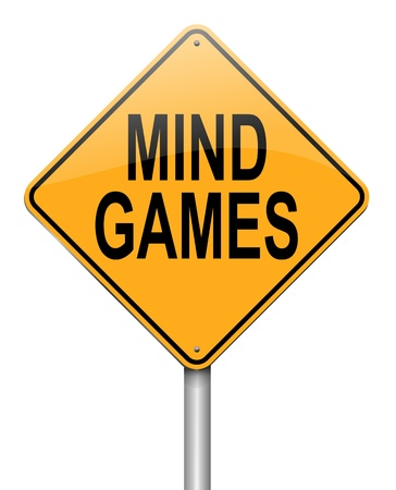 intimidation: Illustration depicting a roadsign with a mind games concept. White background.
