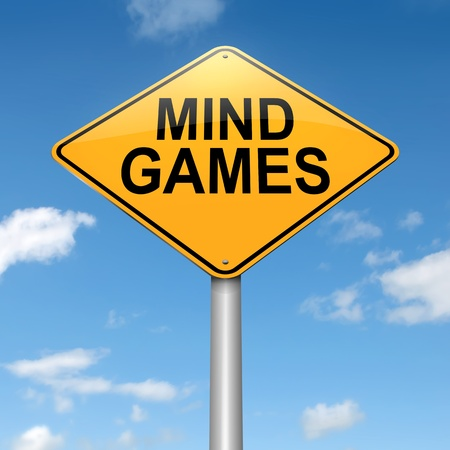 mentality: Illustration depicting a roadsign with a mind games concept. Sky background.