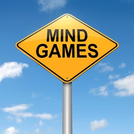 maltrato: Ilustración que representa a un roadsign con un concepto de la mente los juegos. Sky fondo. Foto de archivo