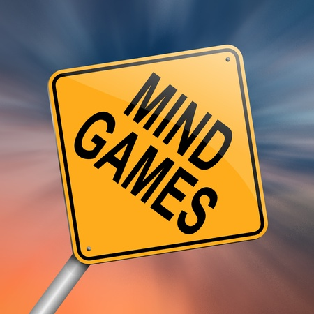 manipulating: Illustration depicting a roadsign with a mind games concept. Abstract background. Stock Photo