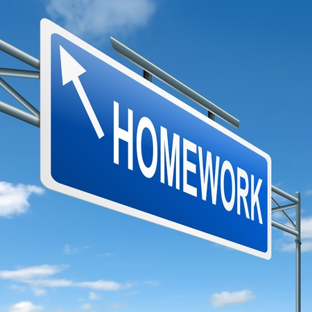 schoolwork: Illustration depicting a roadsign with a homework concept. White background.
