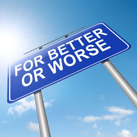 Illustration depicting a roadsign with a for better or worse concept. Sunlight and sky background. Stock Illustration - 16481759