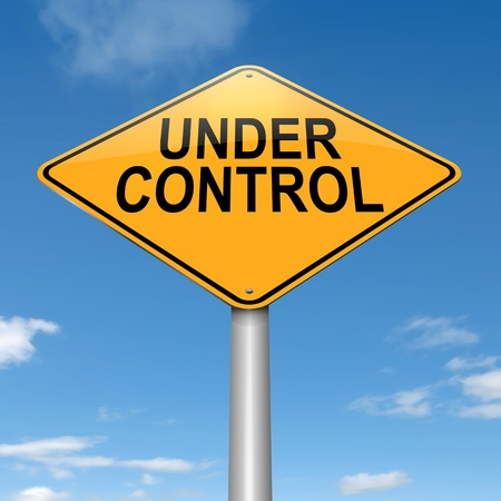 Illustration depicting a roadsign with an under control concept  Sky background  Stock Photo