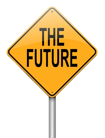 imminent: Illustration depicting a roadsign with a future concept  White background