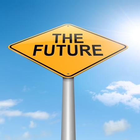 미래의 개념 하늘 배경으로 roadsign을 묘사 한 그림