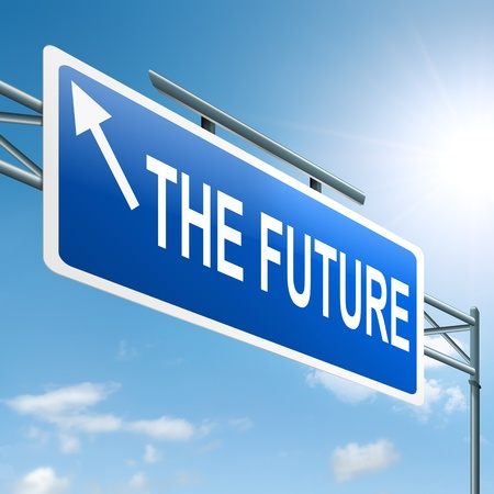 impending: Illustration depicting a roadsign with a future concept  Sky background