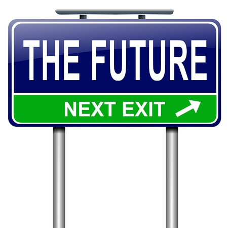 impending: Illustration depicting a roadsign with a future concept  White background