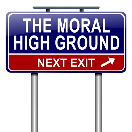 snob: Illustration depicting a roadsign with a moral high ground concept  White background  Stock Photo