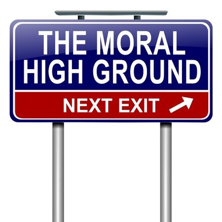 valores morales: Ilustración que representa a un roadsign con un alto concepto moral fondo fondo blanco Foto de archivo