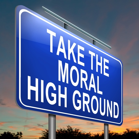 snob: Illustration depicting a roadsign with a moral high ground concept  Evening sky background  Stock Photo