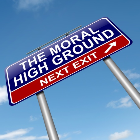 righteous: Illustration depicting a roadsign with a moral high ground concept  Sky background