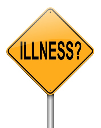 malady: Illustration depicting a roadsign with an illness concept  White background