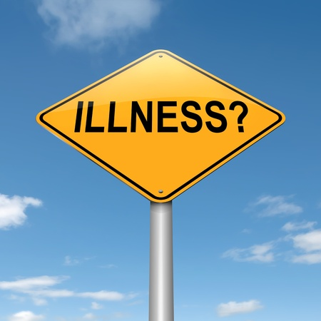 affliction: Illustration depicting a roadsign with an illness concept  Sky background