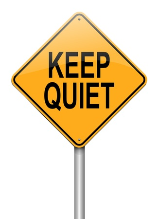 Illustration depicting a roadsign with a keep quiet concept White background