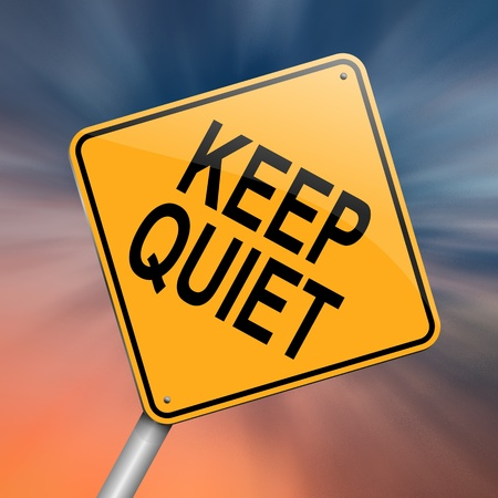 Illustration depicting a roadsign with a keep quiet concept Abstract background