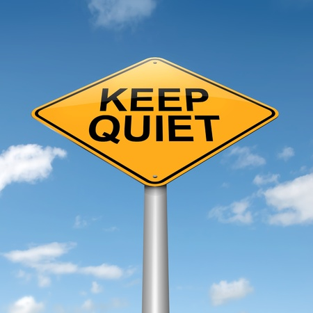 closed mouth: Illustration depicting a roadsign with a keep quiet concept  Sky background
