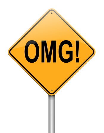 bewildered: Illustration depicting a roadsign with an omg concept  White background