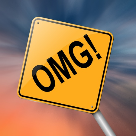 abbreviated: Illustration depicting a roadsign with an omg concept  Abstract background