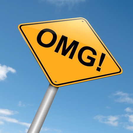 disbelief: Illustration depicting a roadsign with an omg concept  Sky background  Stock Photo