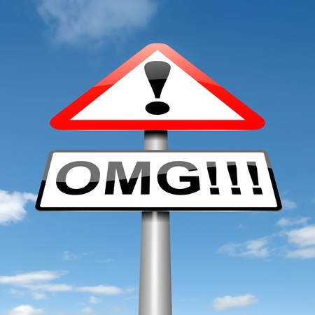 bewildered: Illustration depicting a roadsign with an omg concept  Sky background  Stock Photo