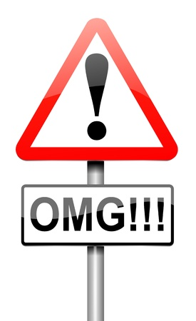 disbelief: Illustration depicting a roadsign with an omg concept  White background