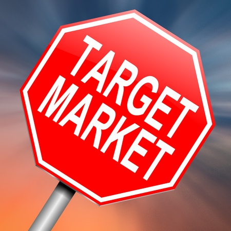 direct sale: Illustration depicting a roadsign with a target market concept. Abstract background.
