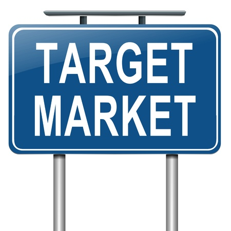 direct sale: Illustration depicting a roadsign with a target market concept. White background.