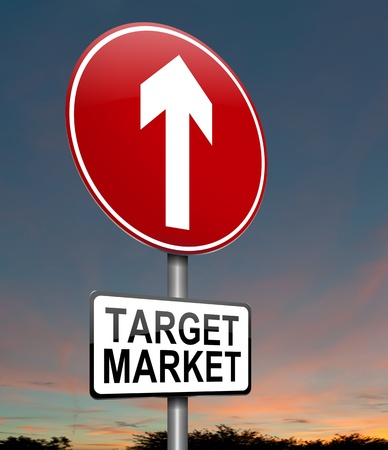 Illustration depicting a roadsign with a target market concept. Dusk sky background. illustration