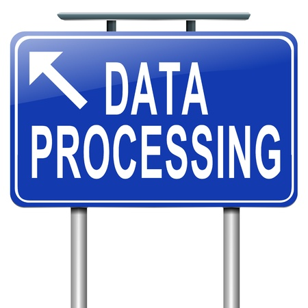 management system: Illustration depicting a roadsign with a data processing concept. White background.