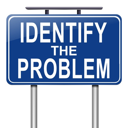 Illustration depicting a roadsign with an identify the problem concept. White background. Stock Illustration - 16708650