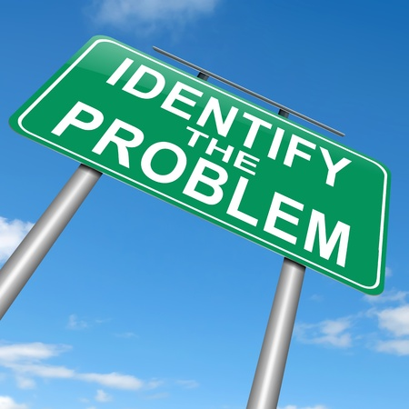 identify: Illustration depicting a roadsign with an identify the problem concept. Sky background.