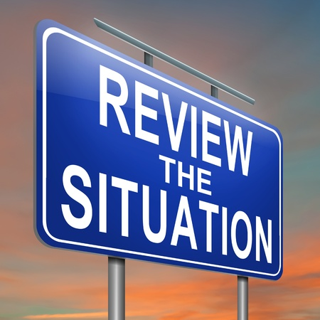 Illustration depicting a roadsign with a review the situation concept. Sky background.