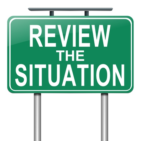 reassessment: Illustration depicting a roadsign with a review the situation concept. White background. Stock Photo