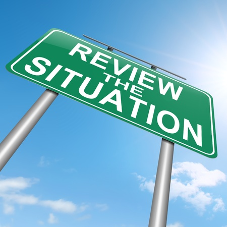 reconsider: Illustration depicting a roadsign with a review the situation concept. White background. Stock Photo