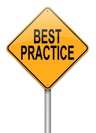 best practices: Illustration depicting a roadsign with a best practice concept. White background.