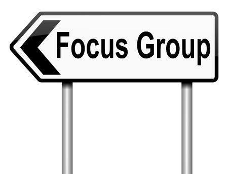 customer focus: Illustration depicting a roadsign with a focus group concept. White background. Stock Photo