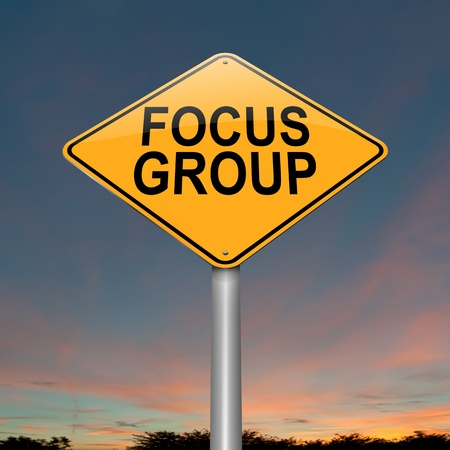 focus group: Illustration depicting a roadsign with a focus group concept. Sky background. Stock Photo