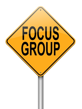 Illustration depicting a roadsign with a focus group concept. White background. Stock Illustration - 16708647