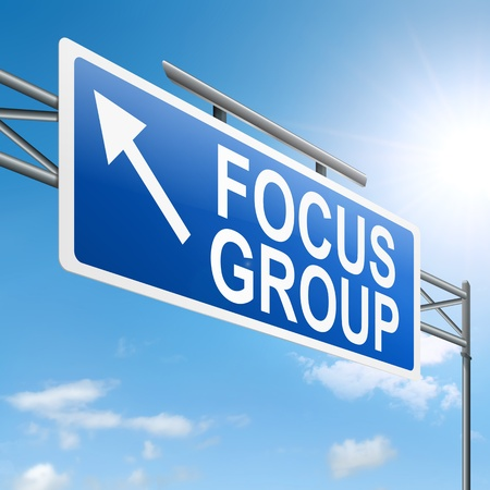 market research: Illustration depicting a roadsign with a focus group concept. White background. Stock Photo