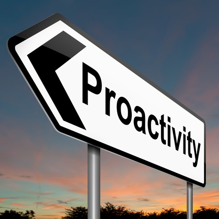 Illustration depicting a roadsign with a proactive concept. Sky background. illustration