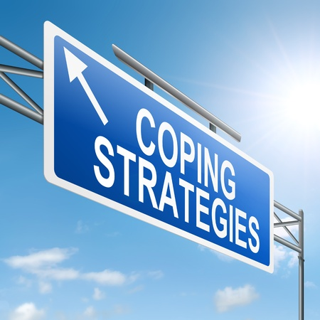 coping: Illustration depicting a roadsign with a coping strategies concept. Sky background.