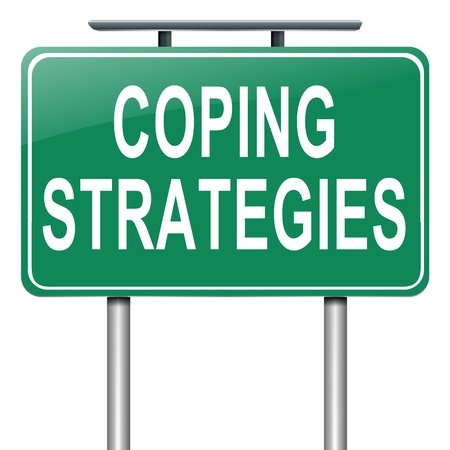 mental work: Illustration depicting a roadsign with a coping strategies concept. White background.
