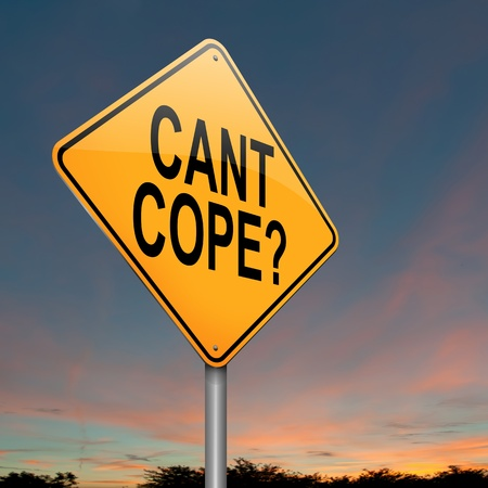 coping: Illustration depicting a roadsign with a cant cope concept. Sunset sky background.