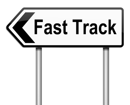 surpassing: Illustration depicting a roadsign with a fast track concept. White background.